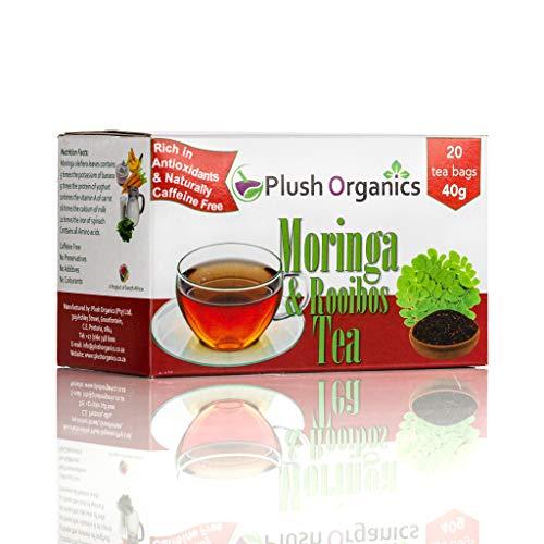 Organic Moringa & Rooibos Tea – 20 Unbleached Tea Bags Kosher, Caffeine-Free, GMO-Free, Detox, Cleanse, Source of Calcium, High in Anti Oxidants