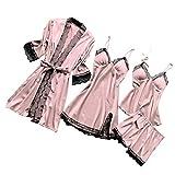 3/4 / 5pc Mujeres Pijamas Conjuntos, Sexy Lace Nightdress Lencería Seda Satén Pijama Set Robes Satin BodySuit V Cuello de dormir ropa de dormir Pijamas 35-S