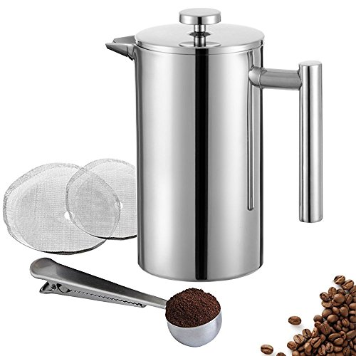Meelio French Press Coffee Maker,Double Wall 18/8 Stainless Steel Heat Resistant Tea or Cafetiere Kettle(1 Liter,34OZ) Gift Set with Coffee Measuring Spoon & Two Filter Screens