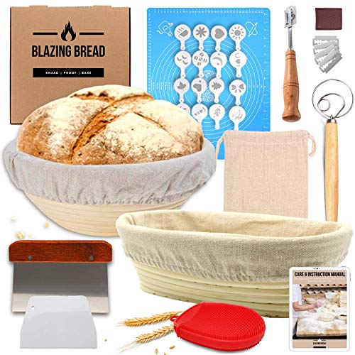 Most Complete Bread Banneton Proofing Basket Kit - Round & Oval Proofing Baskets for Sourdough Bread Lame Whisk Dough Scraper | 100% Natural Rattan Cane Ideal Bread Making Gift for Bakers
