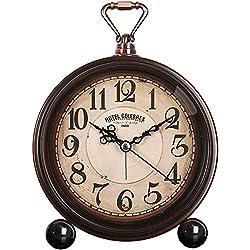 Battery Alarm Clock,Night Light,Vintage Hangable Super Silent Non Ticking Analog Table Clock for Bedroom 14 (Black + Brown -A)