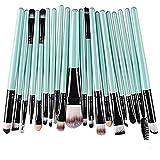 Juego de 20 brochas de maquillaje cosmético para sombra de ojos y labios para una hermosa base, colorete, corrector, ojos, crema líquida, cosméticos (azul)