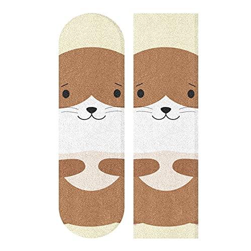 33.1x9.1 Pulgadas Deporte al Aire Libre Longboard Papel de Lija Hungry Pets of Plush Hamsters Imprimir Cinta de Agarre Impermeable para Tabla de Baile Cubierta de Tablero de balancín Doble 1 Hoja