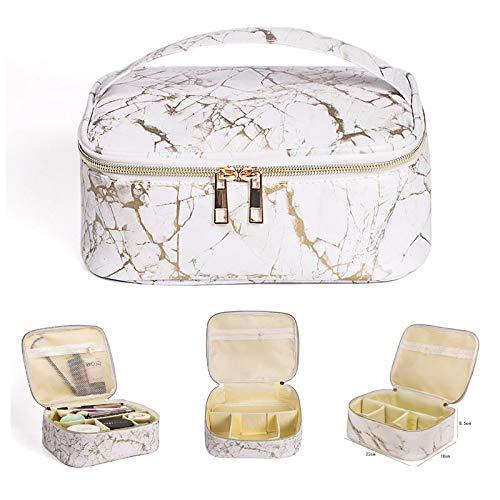 Bolsa de maquillaje portátil de viaje de piel sintética resistente al agua, bolsa de maquillaje de cuarto de galón, bolsa organizadora de artículos de tocador para mujer