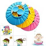 Tuofang Cappello da doccia bambino, 3 Pz cuffie per la doccia Regolabili, Protezione per la Doccia con Paraorecchie, per Bambini Protettivo da Bagnetto Prevenire l'Acqua Flusso Verso Occhi e Viso