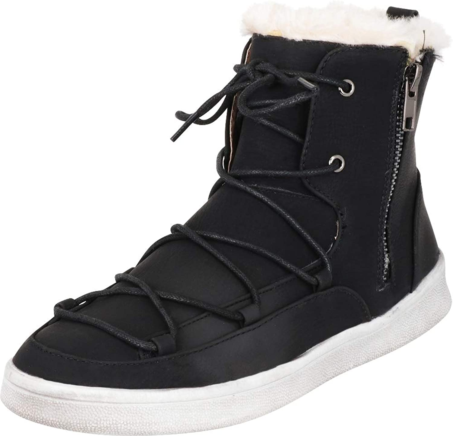 Cambridge Select Women's High Top Faux Fur Lace-Up Ankle Boot Fashion Sneaker