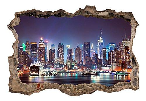 3D WANDILLUSION murando 70x50 cm Wandbild - Fototapete - Poster XXL - Loch 3D - Vlies Leinwand - Panorama Bilder - Dekoration - New York Stadt d-C-0056-t-a