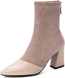 Dames winterlaarzen lederen schoenen lange laarzen hoge hakken warm gevoerd mode casual gezellige antislip sneeuwlaarzen 3...