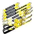 """VULCAN Ultimate Axle Tie Down Kit - Classic Yellow - Includes (2) 22"""" Axle Straps, (2) 36"""" Axle Straps, (2) 96"""" Snap Hook Ratchet Straps and (2) 112"""" Axle Tie Down Combination Straps"""