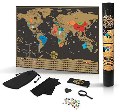 Scratch Off World Map Poster- Detailed Black & Gold Brown Travel Tracker...