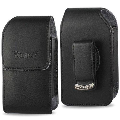 Black Leather Case with Rotating Clip for ZTE z432 Phone