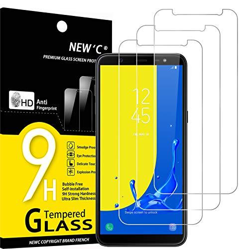 NEW'C 3 Stück, Schutzfolie Kompatibel mit Samsung Galaxy J6, J6 2018 panzerglasfolie, Frei von Kratzern, 9H Härte, HD Displayschutzfolie, 0.33mm Ultra-klar, Ultrabeständig