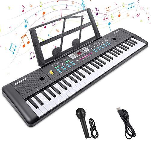 Teclado de Piano 61 Teclas Teclado Electrónico Piano Portátil Teclado Electrónico Musica Teclado Digital Keyboard Piano con Atril y Micrófono Juguete educativo Regalo para Niño Niña Principiantes