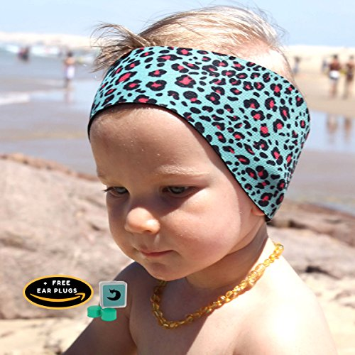Will & Fox Swimming Ear Band with Free Putty Ear Plugs Baby to Adults Swim Headband Thick Aquatic Neoprene