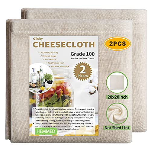 Olicity Cheesecloth, Grade 100, 20x20Inch Hemmed Cheese Cloths for Straining Reusable, 100%...