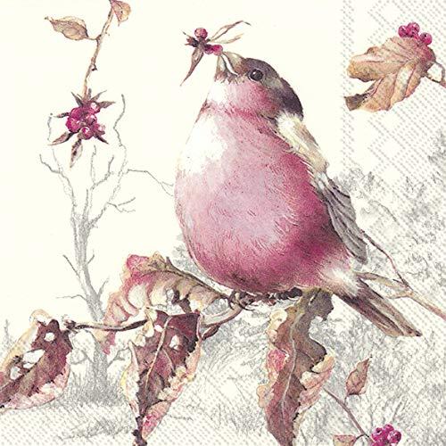 20 Servietten Vogel in herbstlicher Umgebung   Tiere   Herbst   Tischdeko 33x33cm