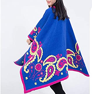 Ms. Wool Shawl Slits Towel Flower Women Large Size Cape Coat Cloak Thick Chinese Style