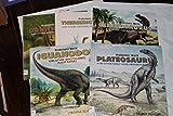 Prehistoric World Set 5 Books Ornithomimus, Iguanodon, Plateosaurus, Ceratosaurus, Therizinosaurus