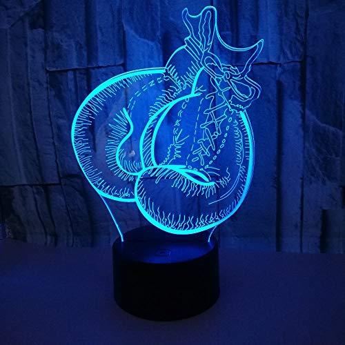 3D Illusion Lampe Kindergeschenk Nachtlicht Boxhandschuhe Led Tischlampe, 7 Farben Ändern Touch Schalter Schreibtisch Dekoration Lampen Kind Spielzeug Geburtstagsgeschenk.