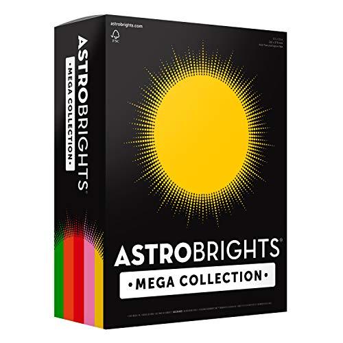 Astrobrights Mega Collection Colored Paper, 8  x 11, 24 lb/89 gsm, Retro 5-Color Assortment, 625 Ct. (91685)