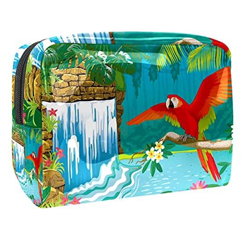 Bolsa de Maquillaje para Mujer, Bolsa de Viaje de Almacenamiento para Mujer Impermeable Cascada Flores Ramas Red Parrot para Viajes, Organizadora de cosméticos
