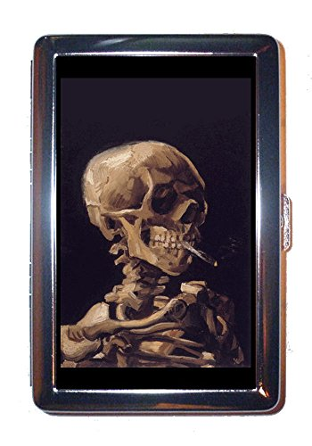 Vincent Van Gogh Skull with Burning Cigarette Stainless Steel ID or Cigarettes Case (King Size)