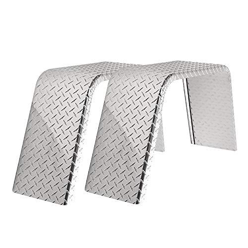 "ToughGrade 2-Pack Aluminum Diamond Plate Flat Top Trailer Fender 10"" X 36"" X 18"""