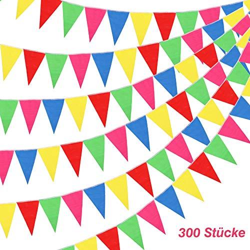 BAKHK 300 Stück Mehrfarbige Wimpelkette Banner Bunte Wimpel, 114M Nylon Stoff Dekorationen Flaggen Für Festival Parteien,Hinterhof Picnics und Hochzeiten