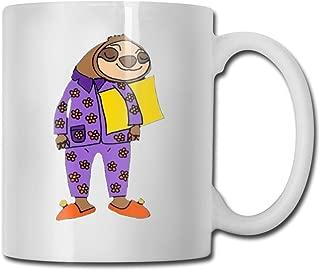 Moyhza Lazy Sloth Wearing Pajamas Funny Ceramic Coffee Mug,11oz