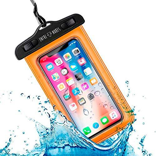 Funda Impermeable Móvil Universal IPX8 con Bolsa Sumergible Agua Estanca Acuática Playa | iPhone XR XS X SE 11 9 8 7 6s Plus Samsung S20 plus A71 Xiaomi Mi 10 Huawei P30 BQ Aquaris (Naranja)