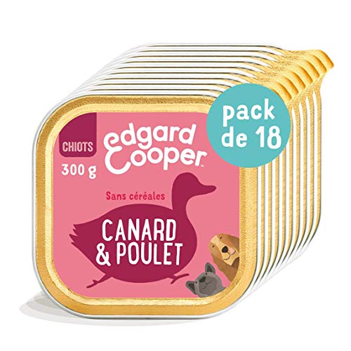 Edgard & Cooper - Caja con pátina para Cachorro, Perro Junior sin Cereales, Comida Natural Pato y Pollo Fresco, alimentación Sana Sabrosa y equilibrada, proteínas (18 x 300 g)