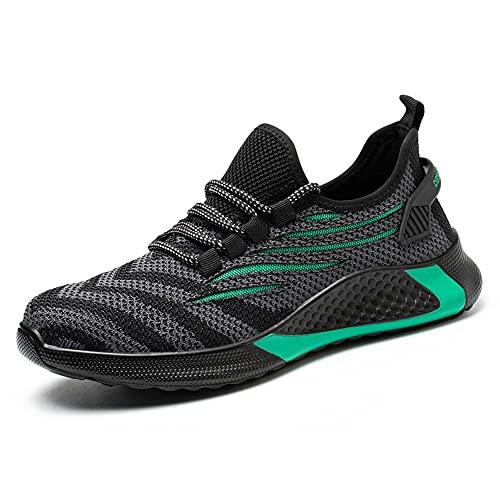 KTDYG Sicherheitsschuhe Herren Damen Arbeitsschuhe S3 Leicht Sportlich Schutzschuhe Stahlkappe Sneaker, Grün, 41 EU