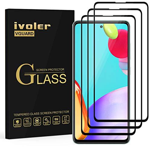 ivoler 3 Stücke Panzerglas Schutzfolie für Samsung Galaxy A52 4G / 5G, [Volle Bedeckung] Panzerglasfolie Folie Hartglas Gehärtetem Glas BildschirmPanzerglas für Samsung Galaxy A52 4G / 5G