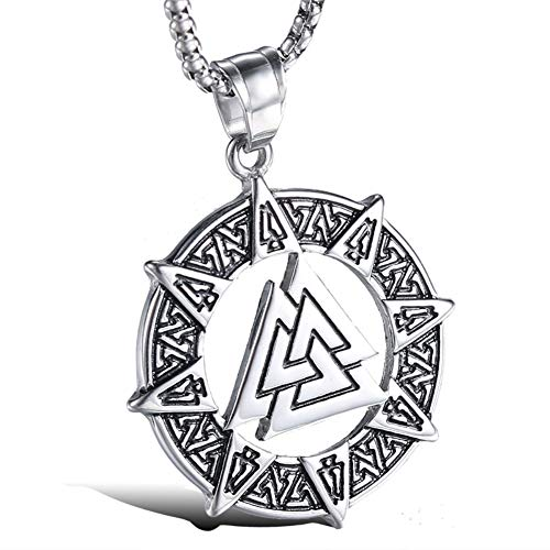 Blowin Stainless Steel Celtic Viking Valknut Pendant Norse Warrior Odin Symbol Amulet Pendant Necklace for Men, 24 Inch Chain