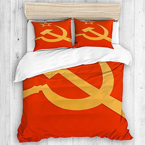 SIONOLY Bettwäsche Bettwäscheset, Kommunistische CCCP Flagge mit Hammer und Sichel, Symbole des Kommunismus, Weiches Dreiteiliges Mikrofaser Set Mit Verschiedenen Benutzerdefinierten Mustern 2 Kissen