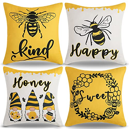 WXM Honeybee - Fundas de cojín de 40 x 40 cm, diseño abstracto con estampado floral, color amarillo, fundas de almohada cuadradas decorativas para jardín, exterior, hogar, juego de 4