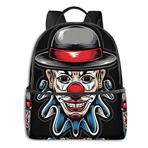 AOOEDM Scary Clo-Wn Head Pre-Mium Vector Mochila para portátil Mochila Escolar temática de Moda