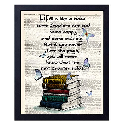 Book Lover Gift Old Book Art Print, Literary Quotes Gift Ideas for Book Lover, Book Quote Wall Art Decor 8x10 Unframed