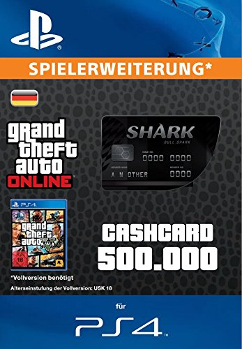 Grand Theft Auto Online | GTA V Bull Shark Cash Card | 500,000 GTA-Dollars | PS4 Download Code - deutsches Konto