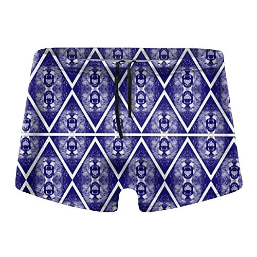 YYRR - Bañador para hombre, diseño triangular, color azul negro XL