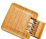 Elegante tablero de bambú de bambú con asa, tablero de queso de bambú y conjunto de cuchillos, servidores de queso con cajón oculto, bandeja de charcuterie y bandeja de sirviendo para vino, carne. Per