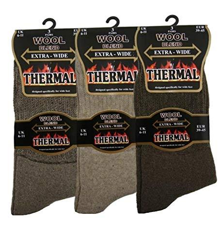 undercover lingerie Mens 6 Pack Extra Wide Thermal Wool Blend Socks SE110...