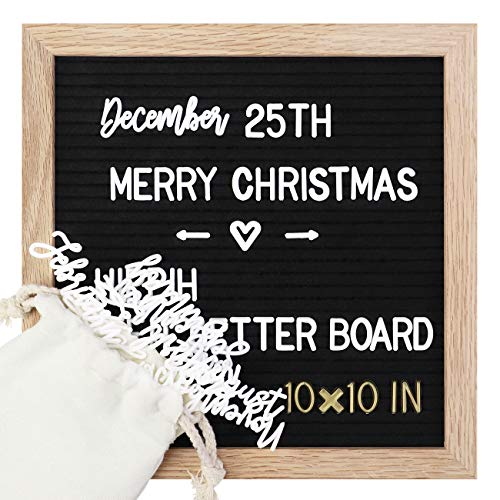 Felt Letter Board with Stand 10''x10'',Pre-Cut Letters+Symbols+Emojis+Months & Days & Script Cursive Words,Black Message Board with 1 Sorting Tray +1 Letter Bags