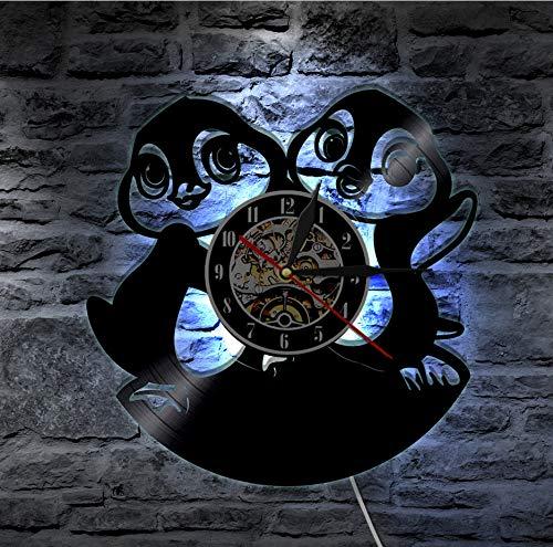 Knncch 1 Pièce Pingouin Mur Art Vinyle Record Horloge Murale Cadeau pour Animails Amoureux Pingouin Bébé Amis Mur Décor Nursery LED Backlight