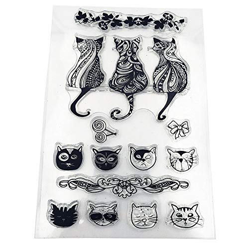 MaGuo Cat Clear Stamps Cute Animal for Paper Crafting DIY Scrapbooking Card Making Decoration