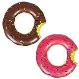 2 Piezas Inflable Flotador Donut Anillo de natación de Piscina, Flotador Hinchable para Niños de 5 a 8 años, Rosa, Marrón, 65cm