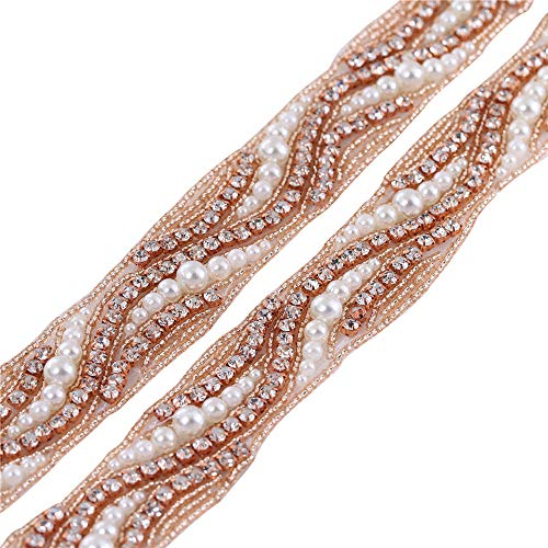 FANGZHIDI 1 Yard nähen auf Elfenbein Perlen Perlen Strass Applikationen Ordnung, Hochzeitskleid Kristall Kette, Diamant Rhinestone Ordnung für Hochzeitskleid Abendkleid Schuhe Taschen