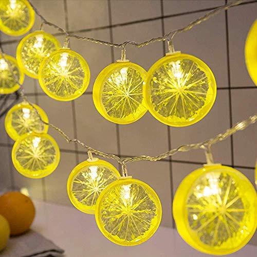 ZSML Lemon Slice Lights Rope String Fairy LED Fruit Lamp Battery Powered Warm White for Christmas Holiday Party Decoration (Yellow Lemon Slice, 10M/80LED)