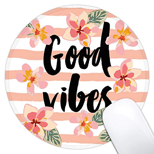Dynippy Mouse Pad Gaming Mouse Pads Non-Slip Rubber Base Mousepad with Stitched Edge Round Mouse Mat for Desktops Computer Laptops ( Foral Good Vibes )