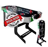Sport One Tavolo Air Hockey Vertical Italy Salvaspazio con Ventola ed Accessori - Cm. 121 X 61 X 77 - Special Edition